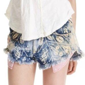 Free People Acid Wash Stripe Pocket Cut Off Shorts